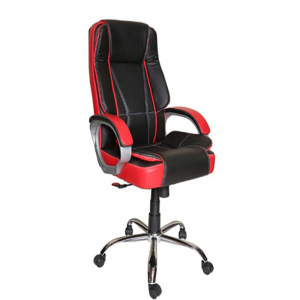 Chromium Steel High Back Office/Computer/Desk/Gaming Chair (Black-Red)